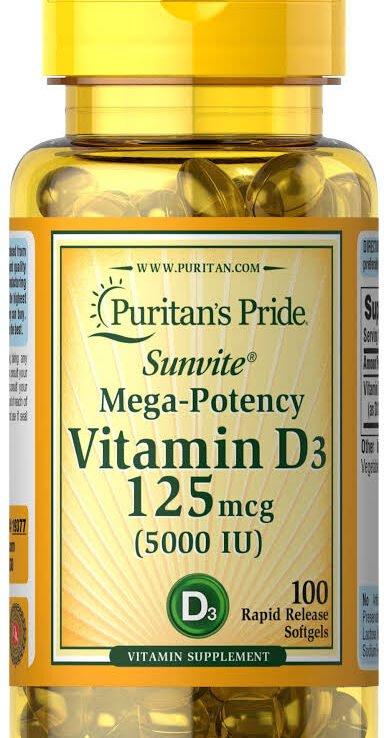 Puritan's Pride Vitamin D3 125mcg (5000iu)